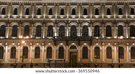 facade of the house in the night St. Petersburg