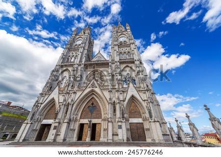 Facade of the huge Basilica in Quito, Ecuador - stock photo