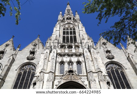 Facade Of The Medieval Gothic Cathedral Lille France