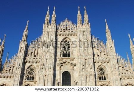 Facade of the Milan cathedral, Italy - stock photo
