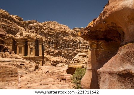 Facade of the Monastery, one of the famous monuments of the ancient Nabatean city of Petra, Jordan. - stock photo