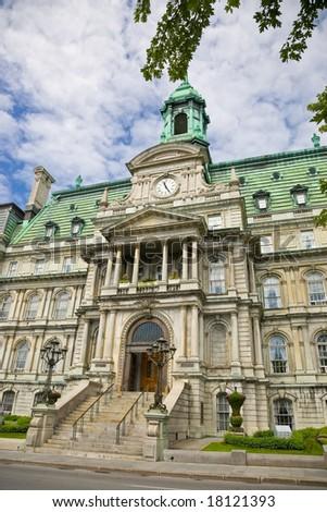 Facade of the Montreal City Hall (Hotel de Ville) - stock photo
