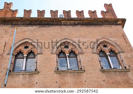 Facade of the Palace notaries (Palazzo dei Notai) on Piazza Maggiore in Bologna. Italy - stock photo