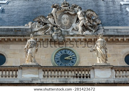 Facade of the Palace of Justice in Paris  - stock photo