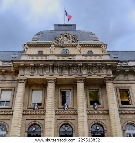 Facade of the Palace of Justice in Paris with the words liiberte, egalite, fraternite. - stock photo