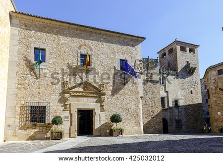 Facade of the Palace of the deputation of Caceres, Spain, UNESCO World Heritage Site. - stock photo