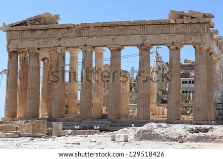 Facade of the Parthenon temple on the Athenian Acropolis, Greece - stock photo