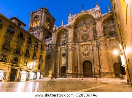 Facade of the renaissance cathedral, Granada, Andalusia Spain