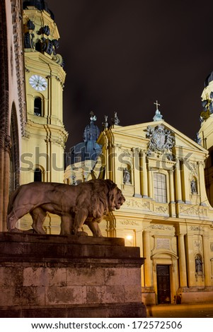 Facade of the theatine church in Munich, Bavaria, Germany - stock photo