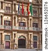 facade of the Town Hall of Pamplona, Navarra, Spain - stock photo