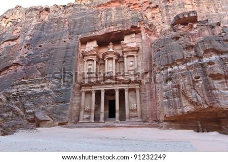 Facade of the Treasury in Petra, Jordan - stock photo