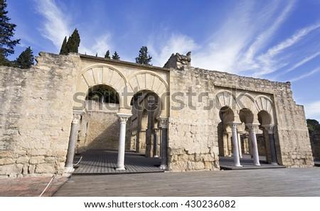 Facade of the Upper Basilica Building at Medina Azahara medieval palace-city near Cordoba, Spain - stock photo