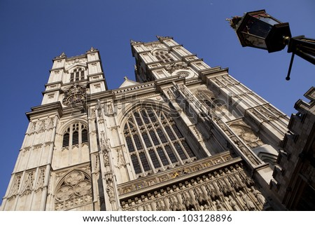 Facade of the Westminster Abbey in London - stock photo