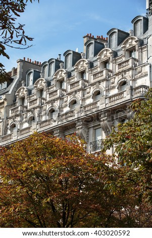 Facade of typical house with balcony in 16th arrondisement of Paris.  France  - stock photo