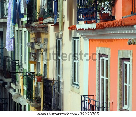 Facade of Typical Portuguese housing in the Santos district of Lisbon - stock photo