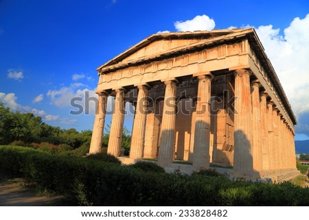 Facade of well preserved Greek temple of the ancient god Hephaestus, Athens, Greece - stock photo