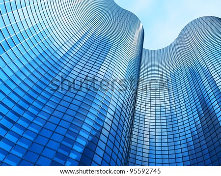 Facade -shapes from a modern building, with structural lines reflection - stock photo