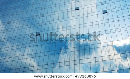 facade skycrper building architecture and cloud on glass curtain wall (for background)