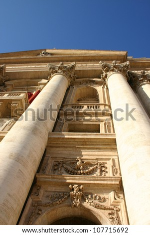 Facade view of Saint Peter church in Vatican, Rome - stock photo