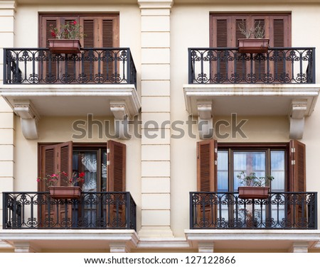 facade with balconies in the colonial style - stock photo