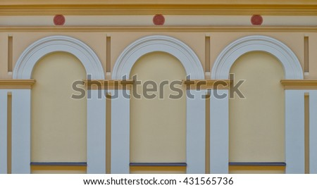 Facade with three large arched