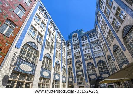 Facades of buildings in Hackescher Markt in Berlin, Germany - stock photo