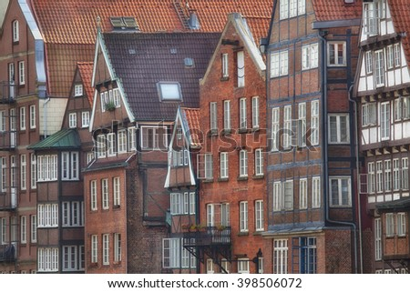 Facades of historical buildings in Hamburg, Germany - stock photo