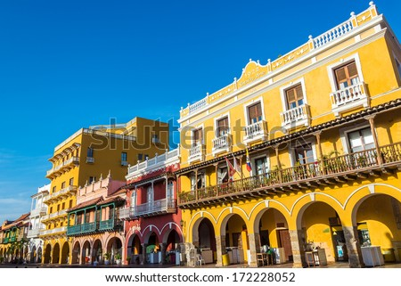 Facades of several historic buildings in the colonial center of Cartagena, Colombia - stock photo
