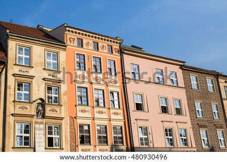 Facades of the buildings in the old centre of Krakow, Poland.