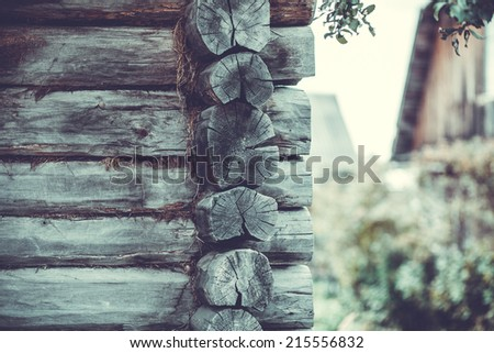 Facades Russian village of wooden houses in the old style. - stock photo