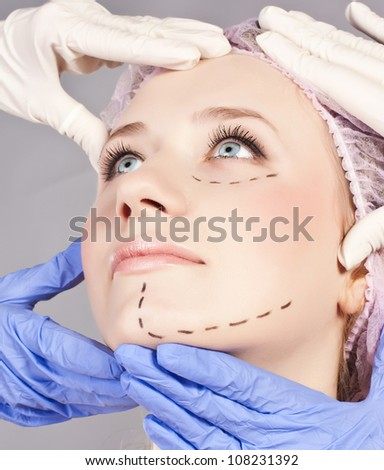 Face before plastic surgery operation - stock photo