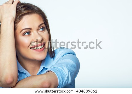 Face business woman isolated portrait. Close up. Smiling girl.  - stock photo