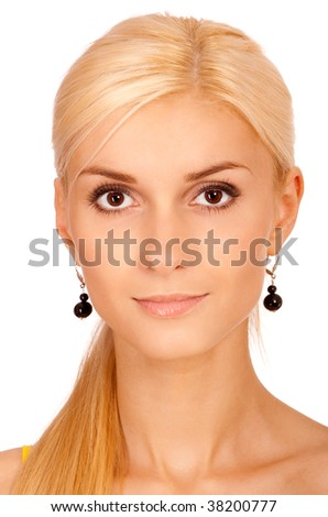 Face charming fair-haired girl, it is isolated on white background. - stock photo