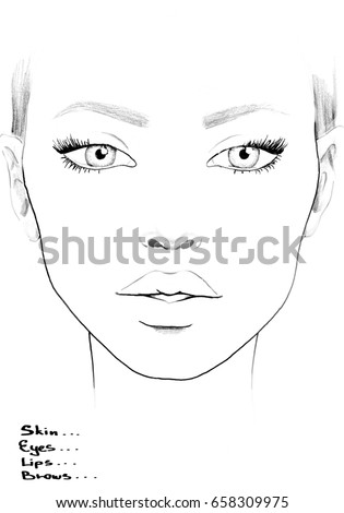 Face Chart Makeup Artist Blank Template Stock Illustration 658309975 ...