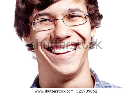 Face close up of young hispanic man wearing glasses and smiling perfect healthy toothy smile over white background - dentistry or ophthalmology concept