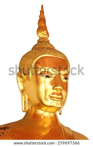 face closeup buddha statue in buddhist temple wat pho, bangkok, thailand,  isolated on white background