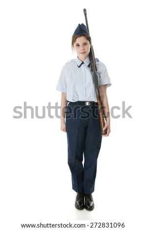 Face Forward view of a Jr. ROTC female with her rifle.  On a white background. - stock photo