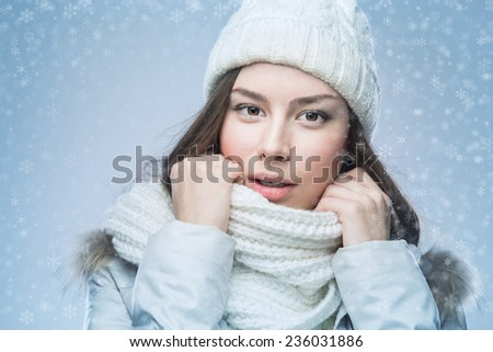 Face girl in winter hat, winter - stock photo