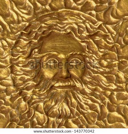 face God sun gold background - stock photo