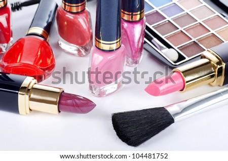 Face make-up set close up - stock photo