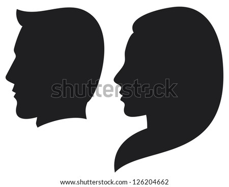 face man and woman (silhouette head of a man and woman, face man and girl) - stock photo