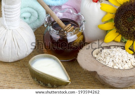 Face mask with oatmeal, honey and yogurt.