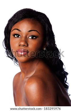 Face of a beautiful African woman with acne pimple free skin, skincare concept, isolated. - stock photo