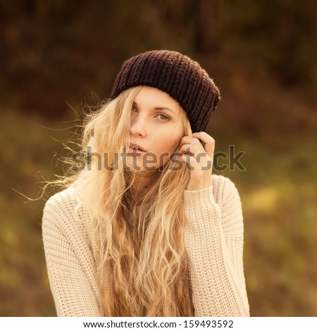 Face of a beautiful girl hipster - stock photo