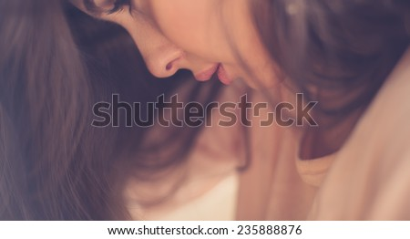 face of a beautiful girl with sexy lips - stock photo