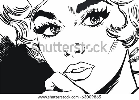 face of a beautiful woman, drawn with old comic style - stock photo