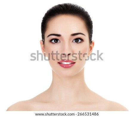 Face of a beautiful young woman, white background, isolated, copyspace - stock photo