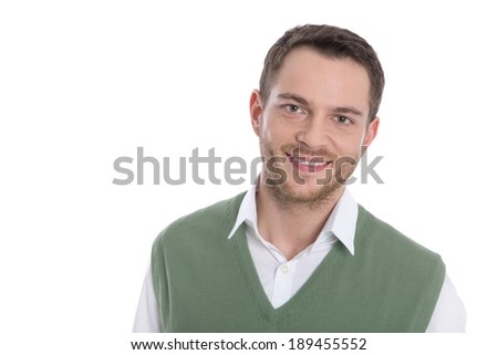 Face of a smiling isolated young business man.