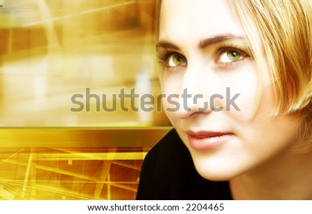 Face of a woman on digitally collaged industrial background of movement, light, colors and blurs - stock photo