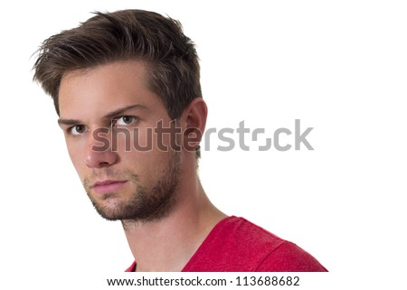 Face of a young brunette man - stock photo